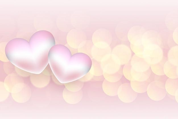 Suave corazones 3d fondo del día de san valentín bokeh