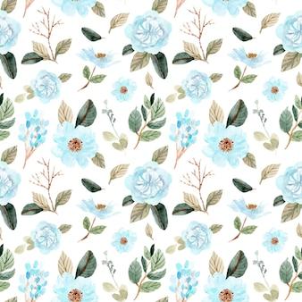 Suave flor verde azul acuarela de patrones sin fisuras