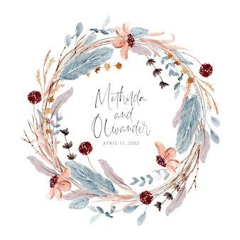 Suave guirnalda de flores rústicas y plumas de acuarela