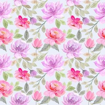 Suave púrpura rosa floral acuarela de patrones sin fisuras