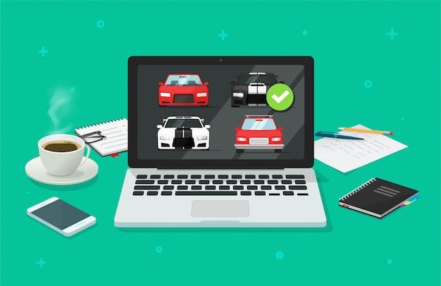 Subasta de automóviles en línea en computadora pc o comparación de la tienda de internet de vehículos de alquiler con la elección de automóviles