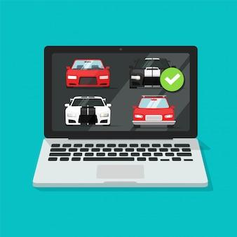 Subasta de automóviles en línea en una computadora portátil o un vehículo de alquiler de pc comparación de sitios web de la tienda de internet