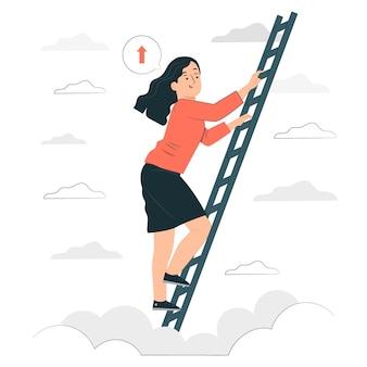 Subiendo la ilustración del concepto de escaleras
