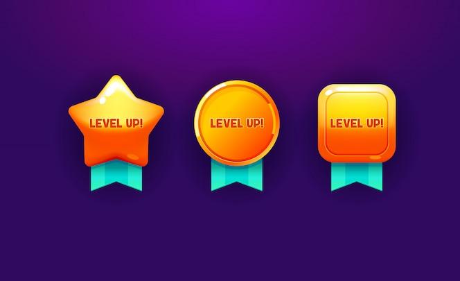 Subir de nivel conjunto de elementos. Diseño de icono de colección para juego, interfaz de usuario, banner, diseño para aplicación, interfaz.