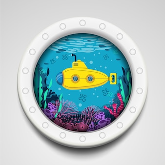 Submarino amarillo bajo el agua en el marco del círculo