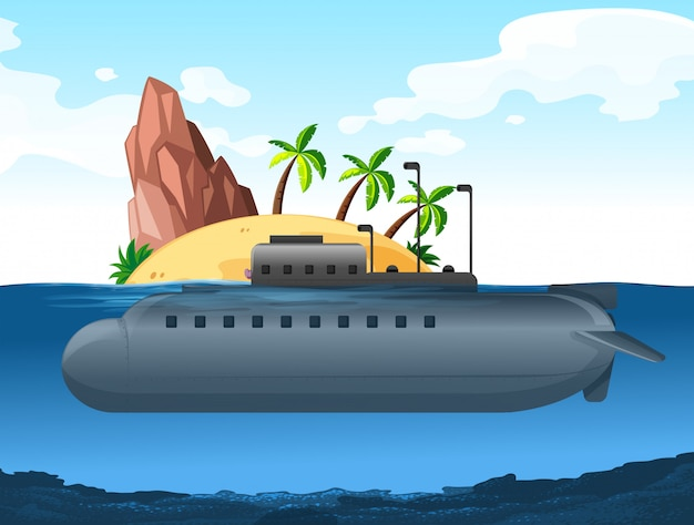 Submarino bajo la isla