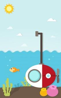 Submarino bajo el papel del mar