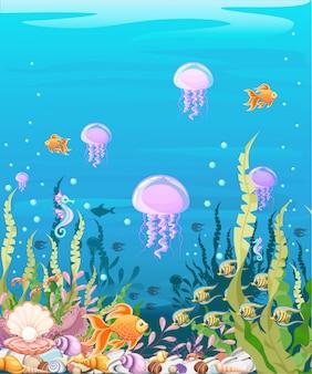 Submarino con pescado. paisaje de vida marina: el océano y el mundo submarino con diferentes habitantes. para sitios web y teléfonos móviles, impresión.