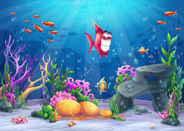 Submarino con pescado. paisaje de vida marina: el océano y el mundo submarino con diferentes habitantes.