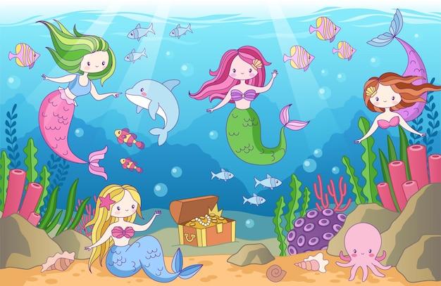 Submarino con sirenas para niños en estilo de dibujos animados.