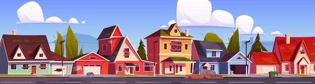 Suburbio abandonado alberga una calle suburbana con antiguas casas residenciales con ventanas tapiadas y puertas, agujeros en las paredes y autos destruidos, edificios abandonados en el campo, ilustración de dibujos animados