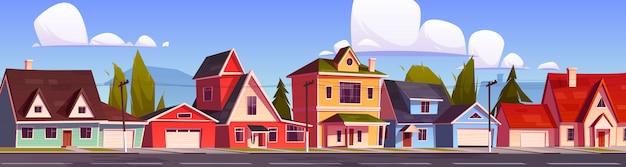 Suburbio de casas, calle suburbana con cabañas.