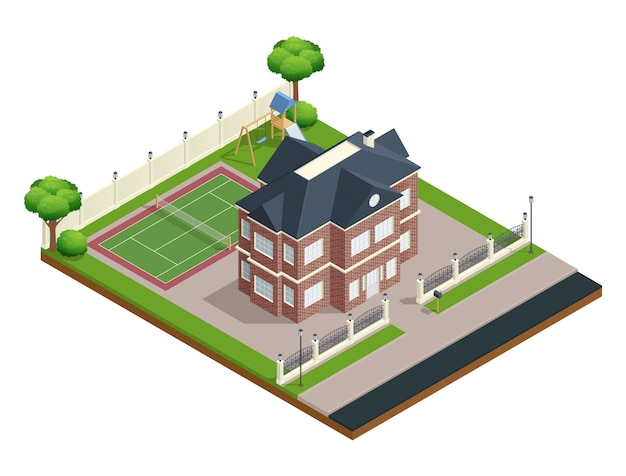Suburbio composición isométrica de la casa con campo de deportes y árboles.
