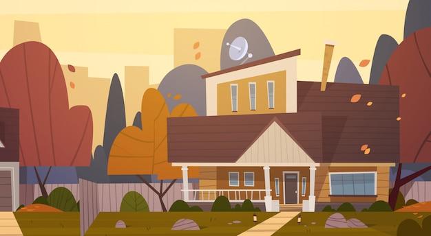 Suburbio de la construcción de viviendas de la gran ciudad en otoño, concepto de ciudad linda casa de campo