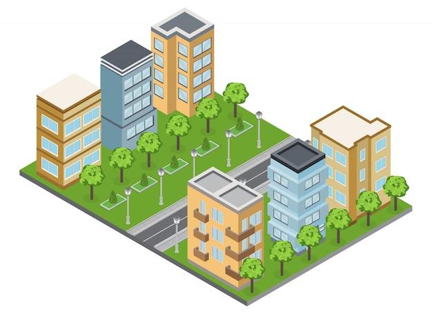 Suburbio de edificios y vecindario con casas adosadas y apartamentos isométricos