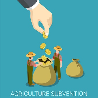 Subvención agrícola agricultura concepto de gobierno empresarial plana