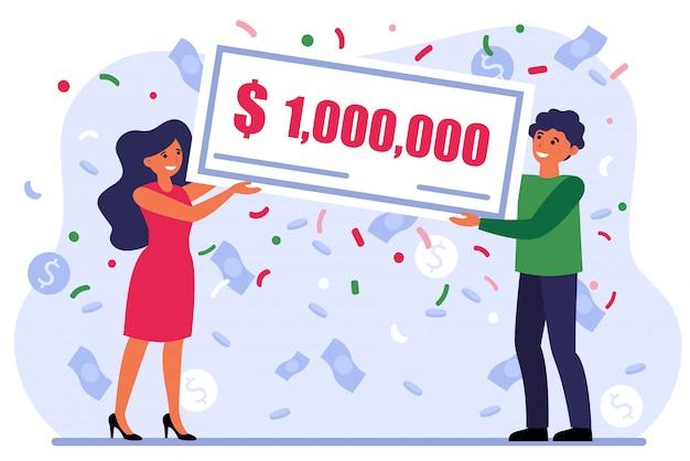 Subvención ganadora de pareja afortunada