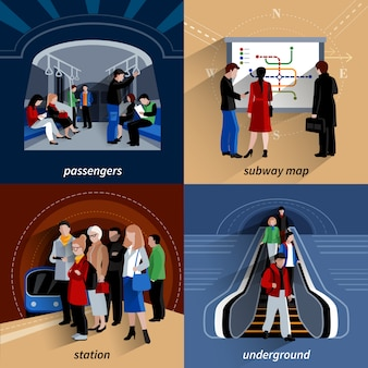 Subway 4 iconos planos composición cuadrada