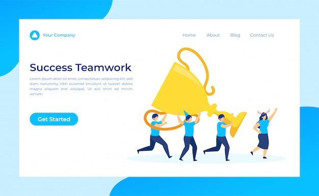 Success teamwork levanta el trofeo en la página de destino de la línea de meta.