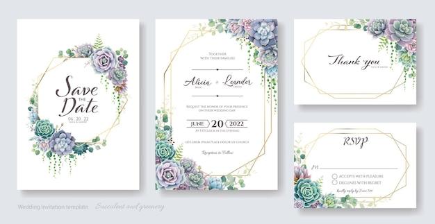 Suculenta tarjeta de invitación de boda guarde la fecha gracias plantilla de rsvp