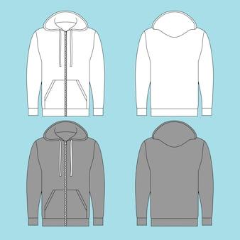Sudadera con capucha y cremallera completa con dos colores diferentes.