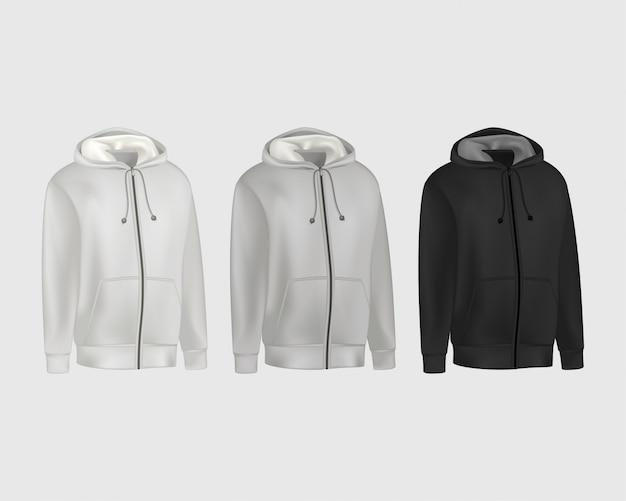 Sudadera con capucha para hombre en blanco, gris y negro de manga larga. sudadera con capucha hombre con vista frontal del capó.