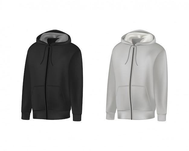 Sudadera con capucha para hombre en blanco, negro y gris de manga larga. sudadera con capucha hombre con vista frontal del capó.