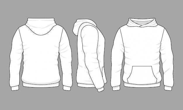 Sudadera con capucha masculina en las vistas frontal, posterior y lateral