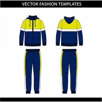Sudadera con capucha y pantalones de chándal plantilla de boceto plano, atuendo para correr por delante y por detrás, atuendo deportivo