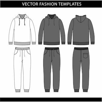 Sudadera con capucha y pantalones de chándal, plantilla de boceto plano de moda, traje de jogging en la parte delantera y trasera, ropa deportiva