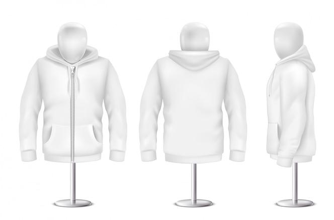 Sudadera con capucha blanca realista, frente, parte posterior, vista lateral de la sudadera