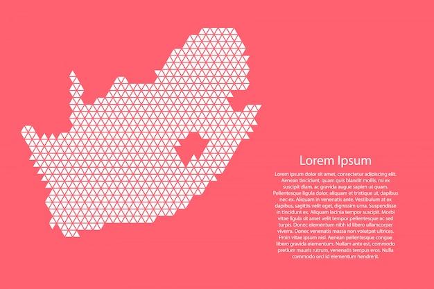 Sudáfrica mapa resumen esquemático de triángulos blancos