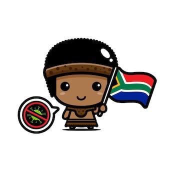 Sudáfrica niño con bandera contra virus