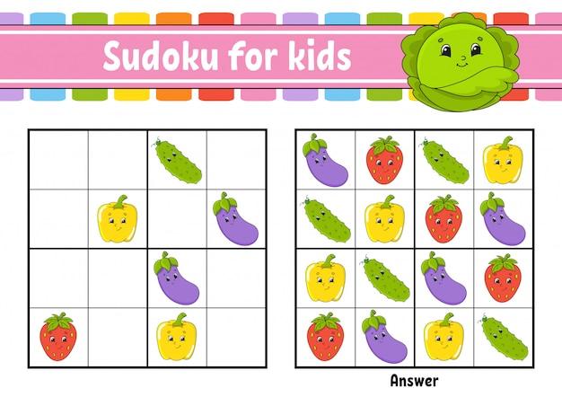 Sudoku para niños. hoja de trabajo de desarrollo educativo. vegetales, frutas.