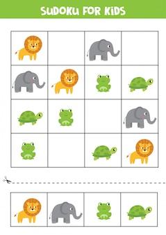 Sudoku para niños. tarjetas con elefante, león, tortuga, rana.