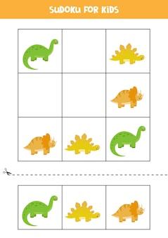 Sudoku con tres imágenes para niños en edad preescolar. juego de lógica con lindos dinosaurios.
