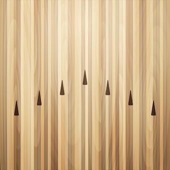 Suelo de madera de la calle bowling. ilustración de bolera