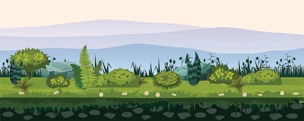 Suelo y tierra con diferentes tipos de vegetación, césped, paisaje de follaje, para desarrollo de juegos de interfaz de usuario, aplicaciones.