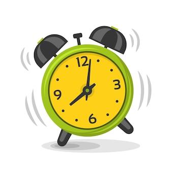 Suena el despertador con la ilustración de dos campanas. imagen dinámica aislada de dibujos animados, despertador matutino de color verde y amarillo