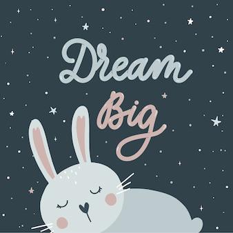 Sueño grande. conejito durmiente