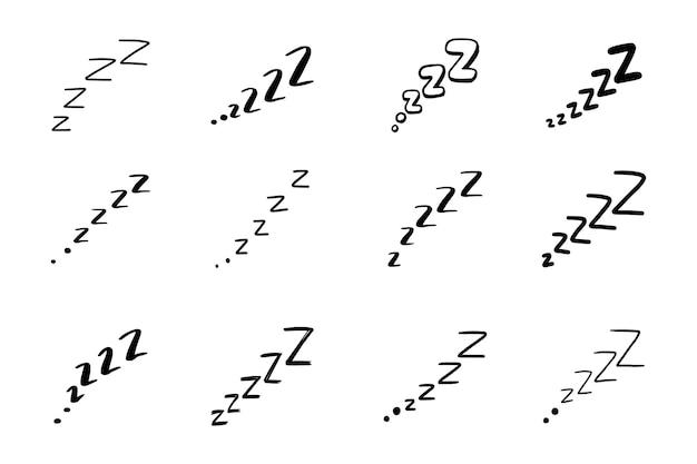 Sueño zzzz doodle conjunto de símbolos. icono de sueño soñoliento. doodle ilustración de vector de estilo de dibujo cómico.