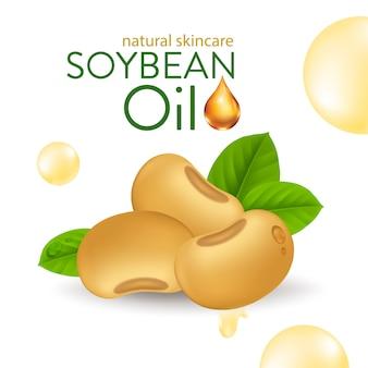 Suero de aceite de soja natural skin care cosmetic. esencia de humedad ilustración vectorial.