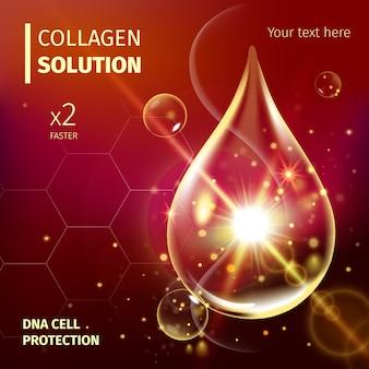 Suero de colágeno y concepto de fondo de vitamina cosmética para el cuidado de la piel.