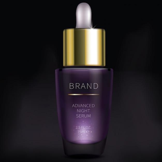 Suero cosmético nocturno para el cuidado facial de la piel.