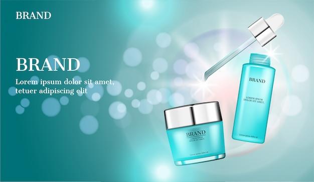 Suero y crema con gotero y luz brillante sobre fondo azul burbujas
