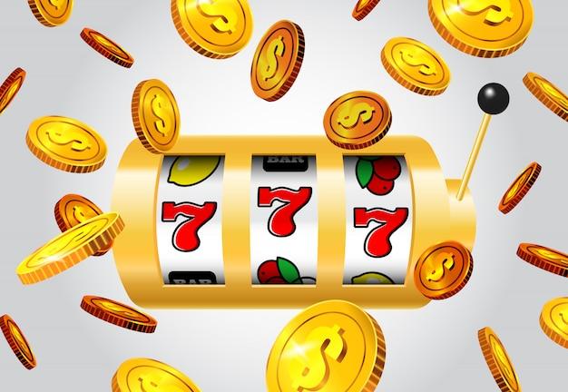 Suerte siete máquina tragamonedas y monedas de oro que vuelan en fondo gris.