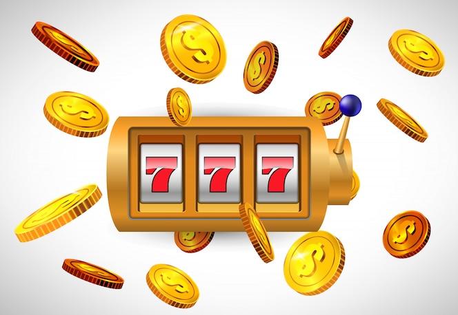 Suerte siete máquina tragamonedas y monedas de oro volando. publicidad de negocios de casino