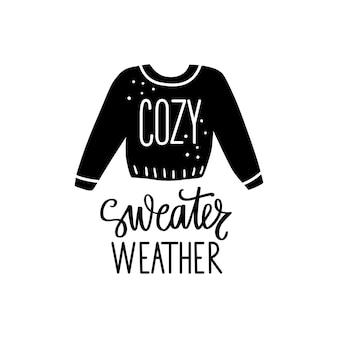 Suéter clima otoño o invierno tipografía.