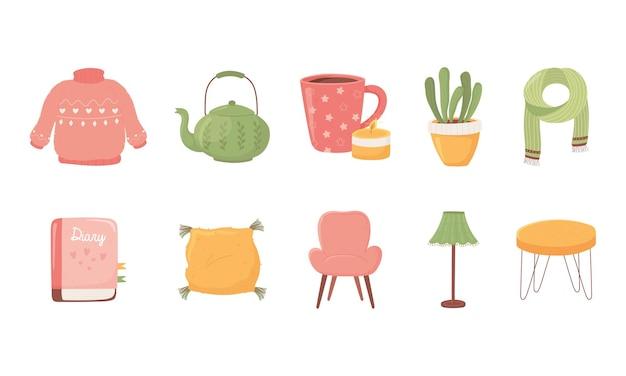Suéter, tetera, taza de café, planta, bufanda, libro, silla, lámpara, mesa, iconos, colección, caricatura, estilo, higiene, ilustración