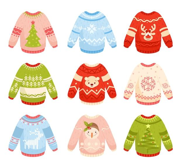 Suéteres navideños planos s set. prendas de punto coloridas, cálidas y acogedoras con adornos